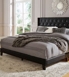 Signature Design by Ashley Vintasso Queen Tufted Upholstered Bed - Black - Sample Room View