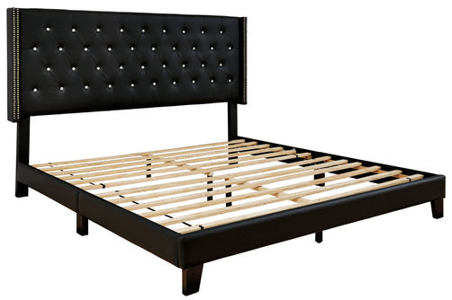 Signature Design by Ashley Vintasso Queen Tufted Upholstered Bed - Black - Alternate View