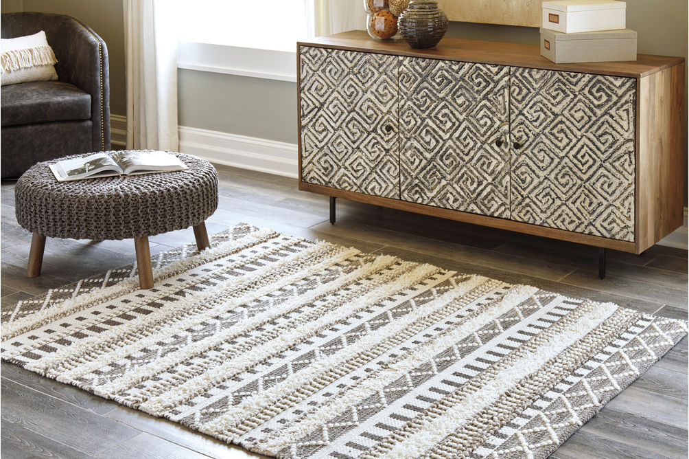 Signature Design by Ashley Karalee Ivory Wool Accent Rug - Sample Room View