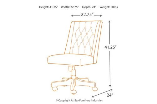 Signature Design by Ashley Graphite Swivel Home Office Desk Chair- Dimensions