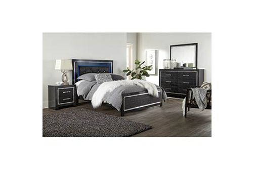Signature Design by Ashley Kaydell 6-Piece Queen Bedroom Set- Headboard Lighting View
