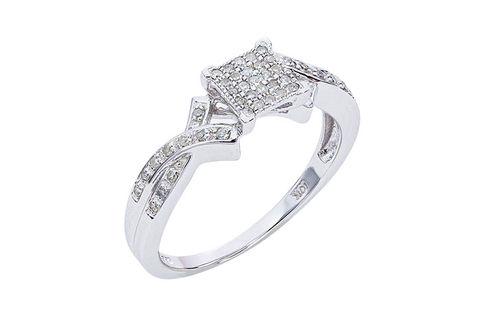 Womens 10K White Gold .14 CT. T.W. Genuine Diamond Fashion Ring- Alternate Image