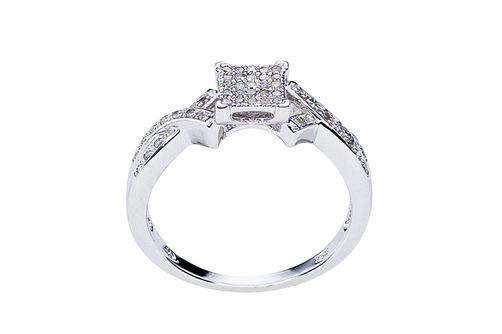 Womens 10K White Gold .14 CT. T.W. Genuine Diamond Fashion Ring