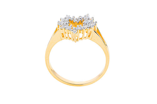 Womens 10K Gold 1/4 CT.T.W. Diamond Heart-Shaped Fashion Ring- Side View