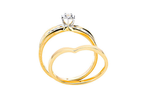 Womens 10K Gold .07 CT.T.W. Crisscross Diamond Engagement and Wedding Set- Side View