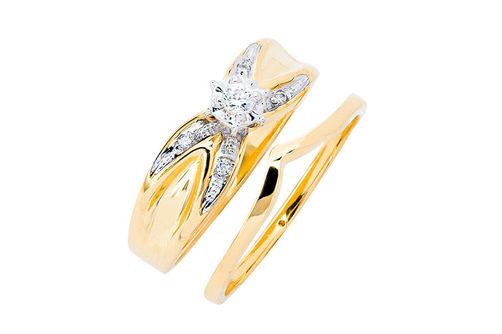 Womens 10K Gold .07 CT.T.W. Crisscross Diamond Engagement and Wedding Set- Alternate Image