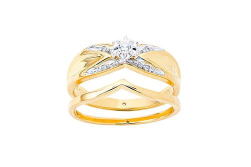 Womens 10K Gold .07 CT.T.W. Crisscross Diamond Engagement and Wedding Set