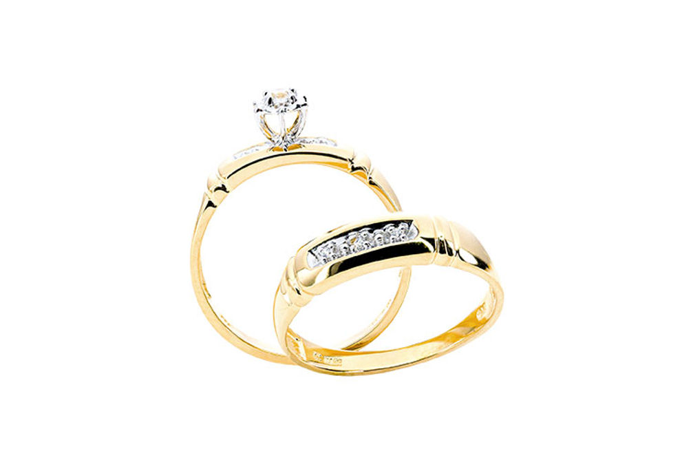 Womens 10K Gold .08 CT.T.W. Genuine Diamond Engagement and 5-Stone Wedding Set- Side View