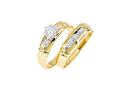 Womens 10K Gold .08 CT.T.W. Genuine Diamond Engagement and 5-Stone Wedding Set- Alternate Image