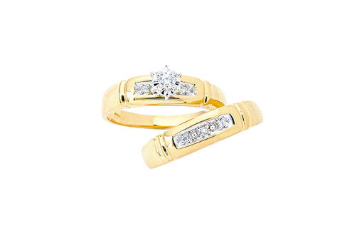 Womens 10K Gold .08 CT.T.W. Genuine Diamond Engagement and 5-Stone Wedding Set