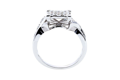 Womens 10K White Gold .75 CT.T.W. White Sapphire and Diamond Fashion Ring- Side View