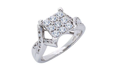 Womens 10K White Gold .75 CT.T.W. White Sapphire and Diamond Fashion Ring- Alternate Image