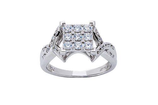 Womens 10K White Gold .75 CT.T.W. White Sapphire and Diamond Fashion Ring