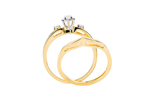 Womens 10K Gold .14 CT.T.W. Diamond Engagement and Wedding Set- Side View