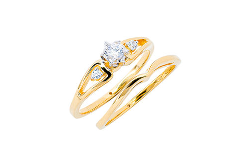 Womens 10K Gold .14 CT.T.W. Diamond Engagement and Wedding Set- Alternate Image