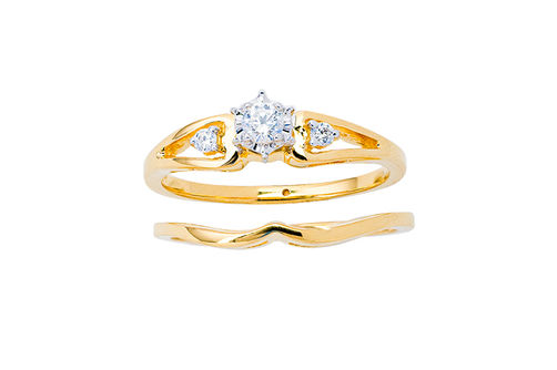 Womens 10K Gold .14 CT.T.W. Diamond Engagement and Wedding Set