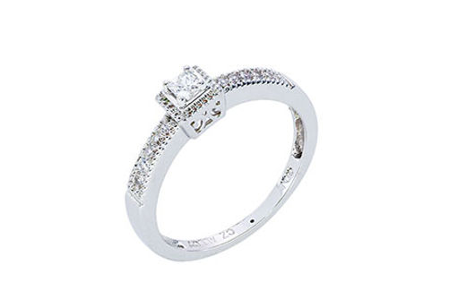 Womens 10K White Gold 1/5 CT.T.W. Diamond Solitaire Ring- Alternate View