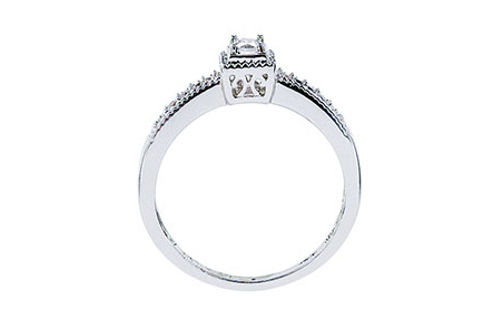 Womens 10K White Gold 1/5 CT.T.W. Diamond Solitaire Ring- Side View