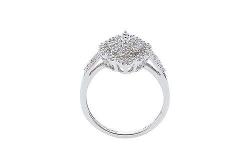 Womens 10K White Gold 3/8 CT.T.W. Diamond Fashion Ring- Side View