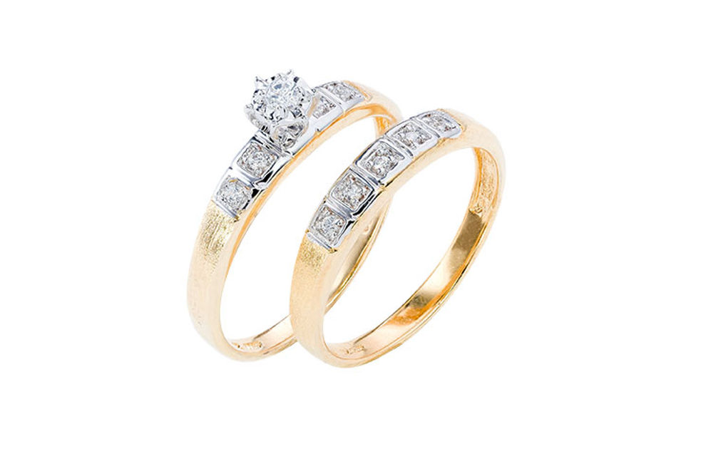 Womens 10K Gold 1/8 CT.T.W. Diamond Engagement and Wedding Set- Alternate Image