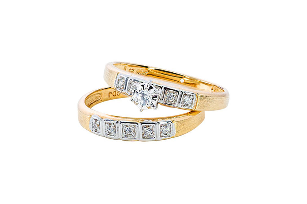 Womens 10K Gold 1/8 CT.T.W. Diamond Engagement and Wedding Set