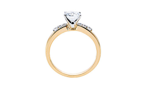 Womens 10K Gold 1.04 CT.T.W. White Sapphire and Diamond Solitaire Ring- Side View
