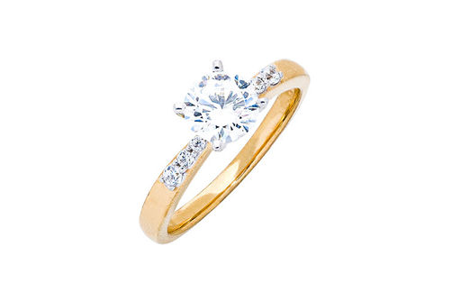 Womens 10K Gold 1.04 CT.T.W. White Sapphire and Diamond Solitaire Ring- Alternate Image