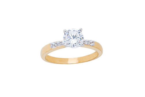 Womens 10K Gold 1.04 CT.T.W. White Sapphire and Diamond Solitaire Ring