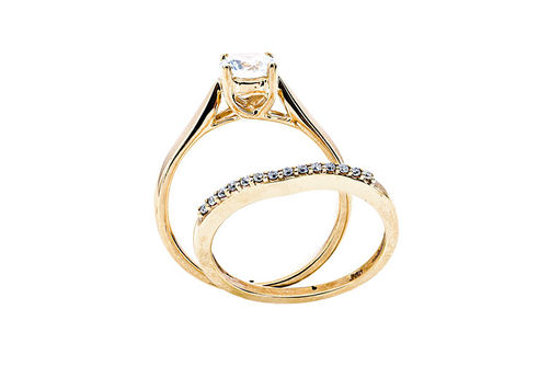 Womens 10K Gold .82 CT.T.W. Lab-Created Moissanite and Diamond Wedding Set- Side View