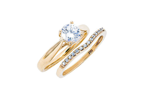 Womens 10K Gold .82 CT.T.W. Lab-Created Moissanite and Diamond Wedding Set- Alternate Image