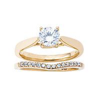 Womens 10K Gold .82 CT.T.W. Lab-Created Moissanite and Diamond Wedding Set