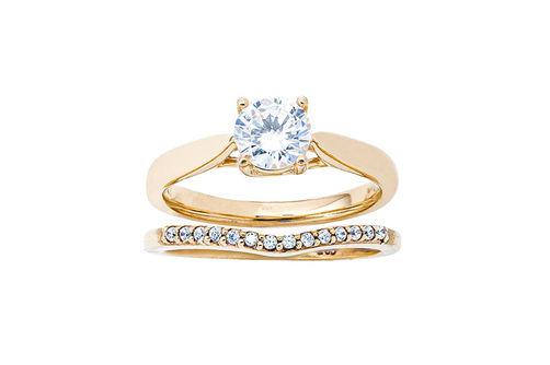 Womens 10K Gold .82 CT.T.W. Lab-Created Moissanite and Diamond Wedding Set