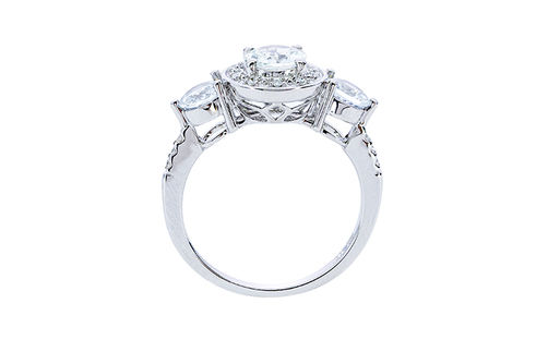 Womens 10K White Gold .75 CT.T.W. White Sapphire and Diamond Fashion Ring- Sdie View