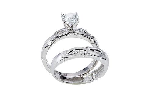 Womens 10K White Gold .95 CT. T.W. White Sapphire Wedding Set