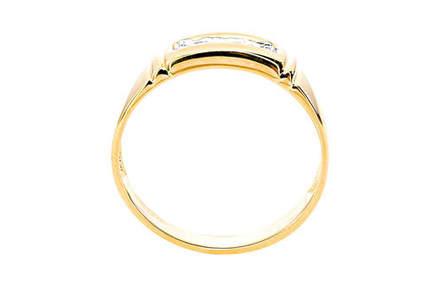 Mens 10K Gold .025 CT.T.W. Genuine Diamond Ring- Side View