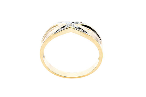 Mens 10K Gold .025 CT.T.W. Crisscross Genuine Diamond Ring- Side View