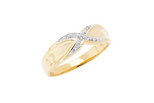Mens 10K Gold .025 CT.T.W. Crisscross Genuine Diamond Ring- Alternate Image