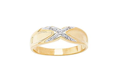 Mens 10K Gold .025 CT.T.W. Crisscross Genuine Diamond Ring
