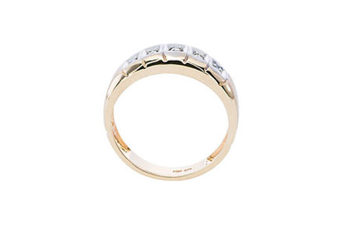 Mens 10K Gold .05 CT.T.W. Genuine 5-Stone Diamond Ring- Side View