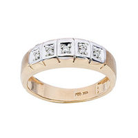 Mens 10K Gold .05 CT.T.W. Genuine 5-Stone Diamond Ring