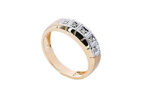 Mens 10K Gold .05 CT.T.W. Genuine 5-Stone Diamond Ring- Alternate Image