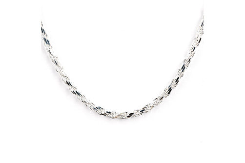 Sterling Silver 4.25mm 24 Inch Diamond Cut Rope Chain