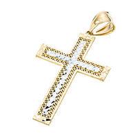 10K Gold & Rhodium Diamond Cut Cross Pendant