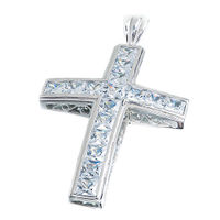 "Sterling Silver 3"" CZ Cross Pendant"
