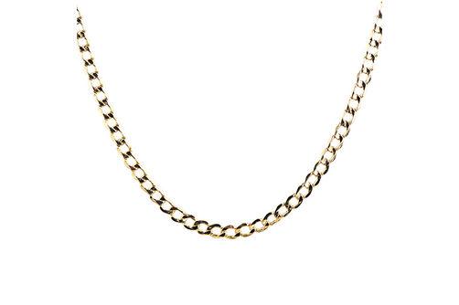 10K Gold 4.3mm Diamond Cut 24 Inch Semi-Solid Curb Chain