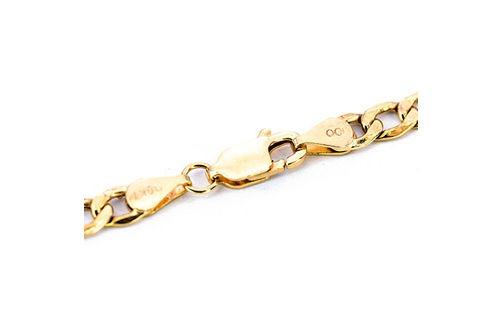 10K Gold 4.3mm Diamond Cut 24 Inch Semi-Solid Curb Chain-Clasp View