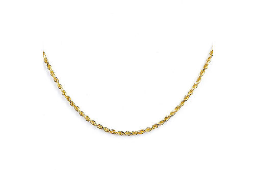 10K Gold 2.25mm Diamond Cut 22 Inch Solid Rope Chain