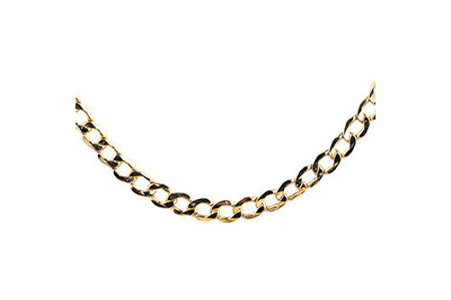 10K Gold 5.25 mm Diamond Cut 22 Inch Semi-Solid Curb Chain- Alternate View
