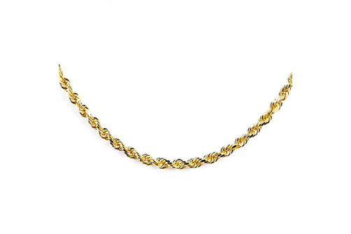 10K Gold 3.2 mm Diamond Cut 22 Inch Solid Rope Chain