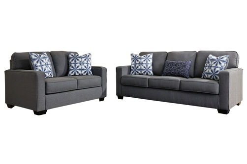Benchcraft Kiessel Nuvella-Steel Sofa and Loveseat